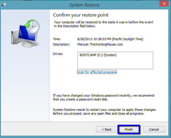 finish restore, reset, restore, system, system restore windows 8, take windows 8 back in time, time machine windows 8, windows 8