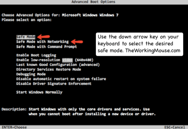 advanced boot options windows 7, boot into safe mode windows 7, how to boot into safemode windows 7