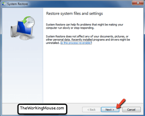 restore system files settings windows 7