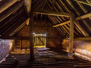 The lovely timbered interior of the old granary at Dean Farm