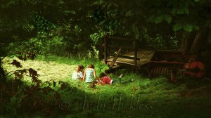 Children relaxing in the corner of a hayfield, amongst trees and old farm machinery