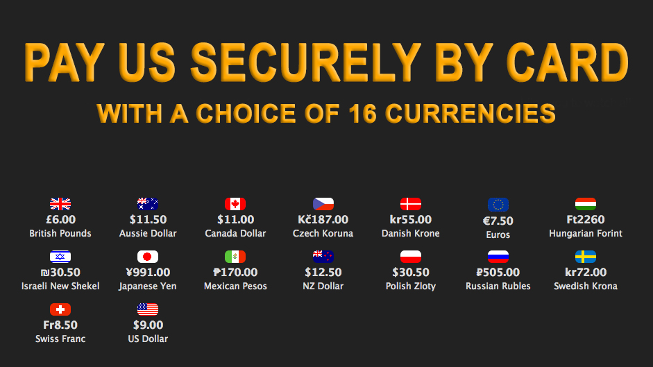 Our featured image showing the sixteen currencies we accept for secure payments online