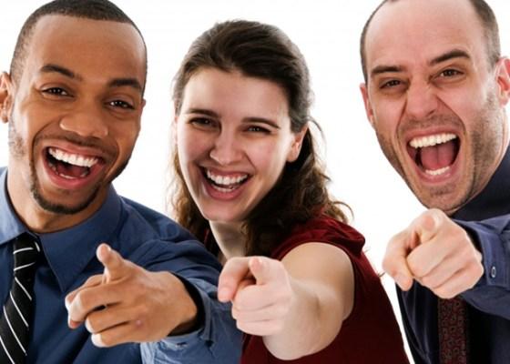 photo of fake people laughing