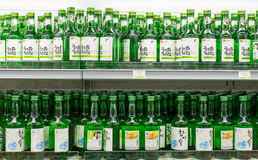 bottles of korean liquor soju