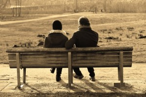 two friends on a bench