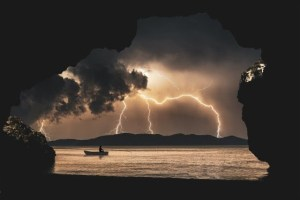 lightening on lake
