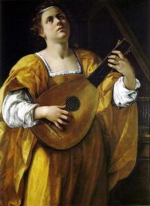 woman playing lute