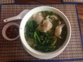 Fresh noodle and wonton soup