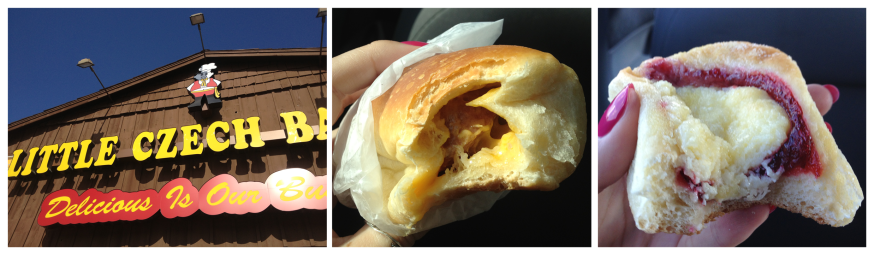Little Czech Bakery with a sausage & cheese kolache (klobasnek, as they called it) and a fruit kolache. YUM.