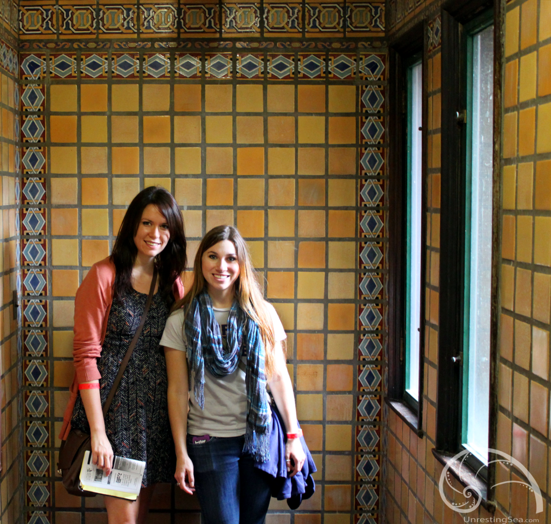 Melissa & I in the lobby of the Luxor. Look at that tile!