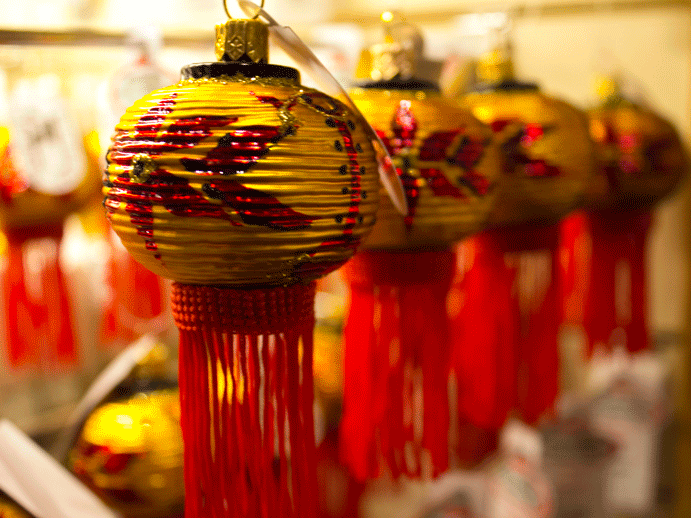 Asian lanterns reminded me of teaching English in China and how often I'd see these guys dangling in a window. Runner up to the Chinese dragon ornament and the Japanese sushi roll
