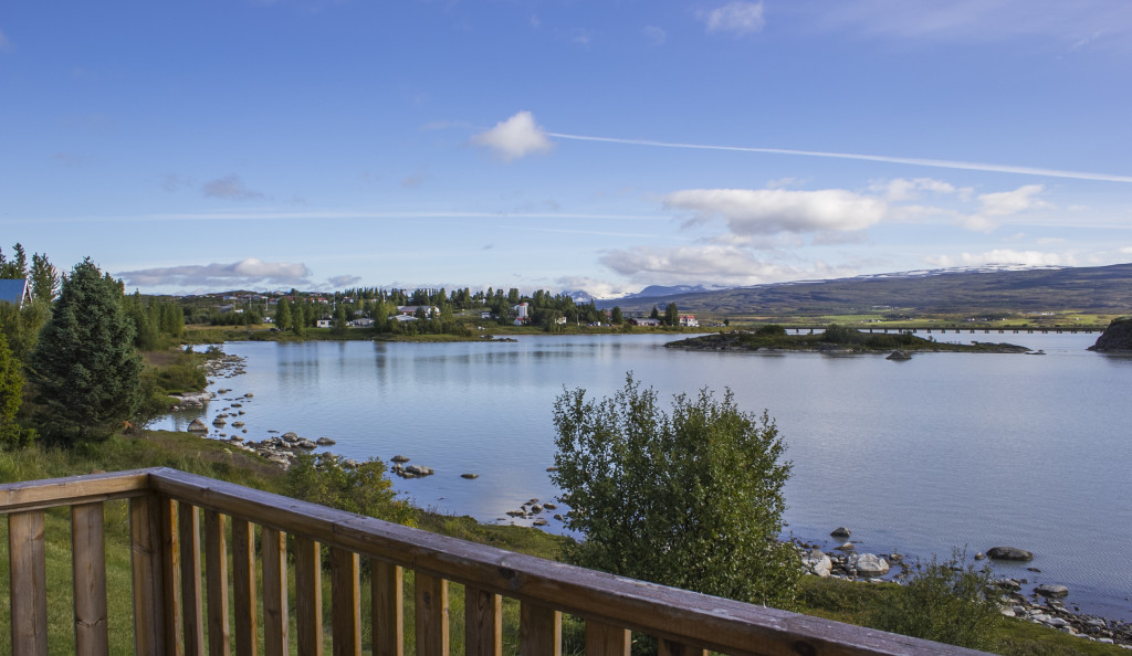 During your Iceland itinerary, stay at the Skipalaekur Guesthouses in Egilsstaðir for a beautiful view of Lake Lagarfljot.