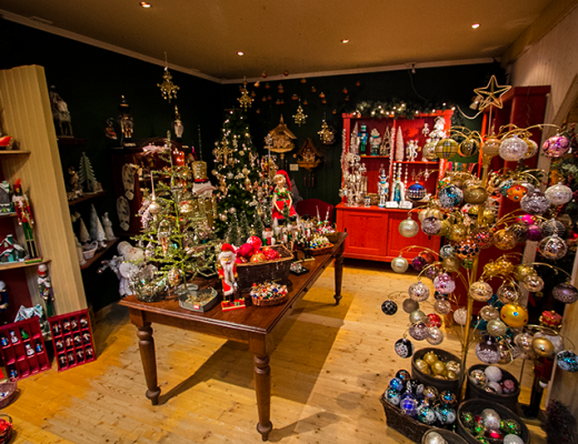 The interior of Jólagarðurinn, The Christmas Garden store in Akureyri, Iceland.