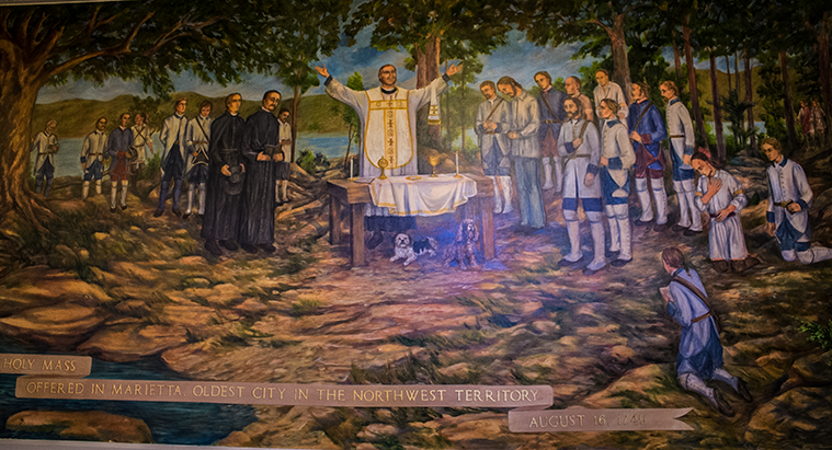 Mural of the first Catholic Mass in the Northwest territory - a mural at the Basilica of St. Mary in Marietta, Ohio