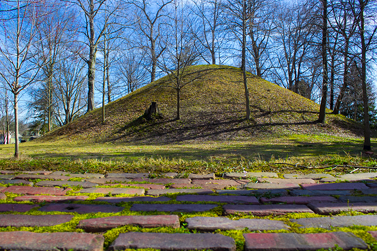 well preserved Hopewell Native American Mound in Marietta Ohio