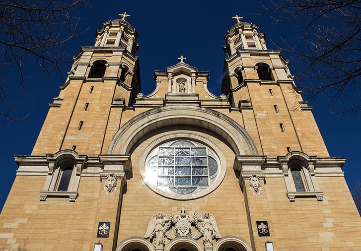 the facade of the Basilica of St. Mary in Marietta Ohio.