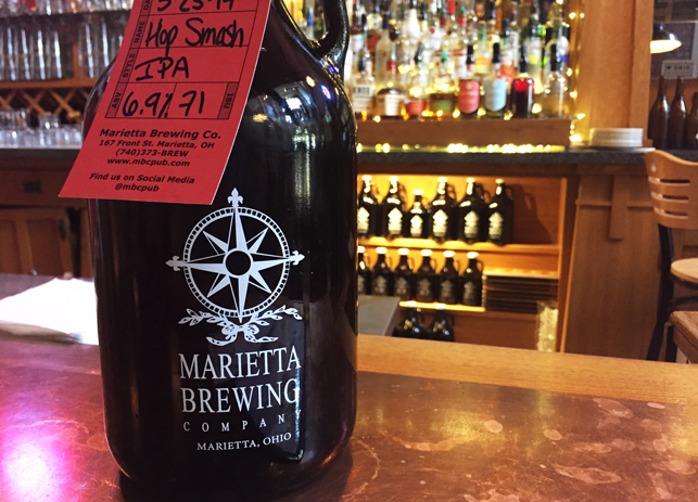 a growler of IPA beer at Marietta Brewing Co