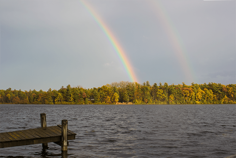 double rainbow at Tommy's Lake in Lake Orion