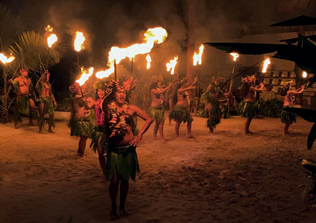 Fire performance at Tiki Village in Moorea.