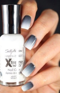 Grey to white ombre nails