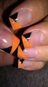 Halloween French nails with Black Orange Glitter angled ...