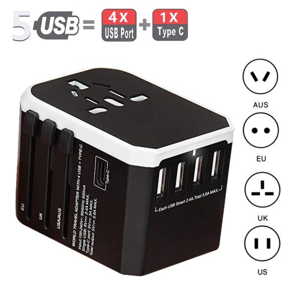 Rdxone Travel Adapter International Universal Power Adapter All-in-one with 5 USB Worldwide Wall Charger for UK/EU/US/Asia