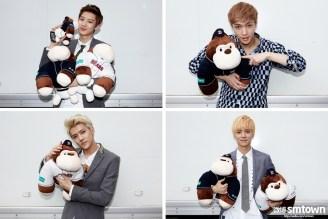 Chanyeol, Lay, Sehun, Luhan with their stuffed toys