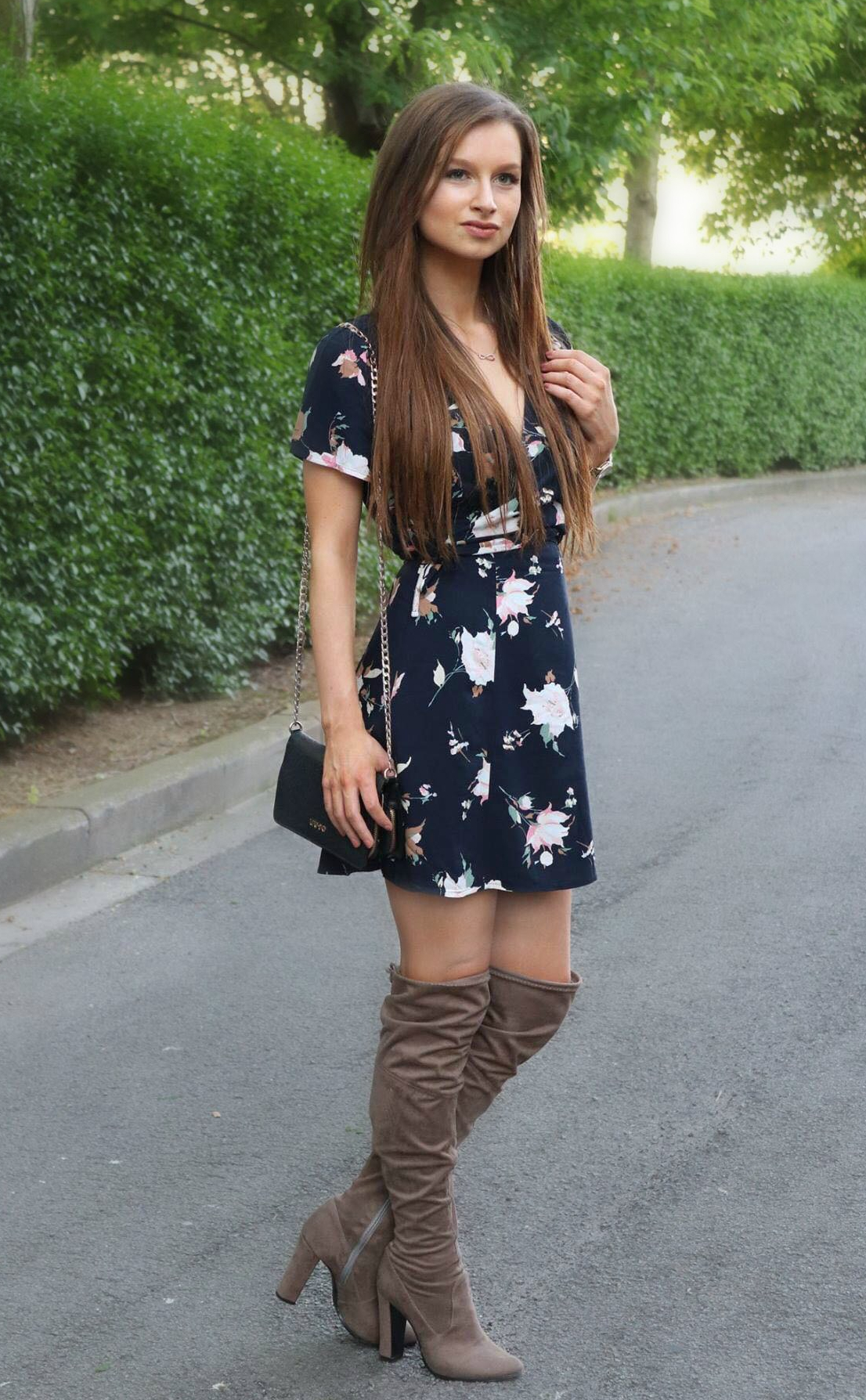Floral dresses and over the knee boots,Kim Detollenaere,The