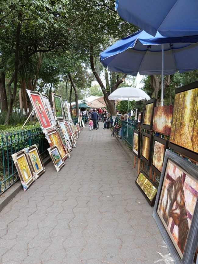Art market in San Angel, Mexico City