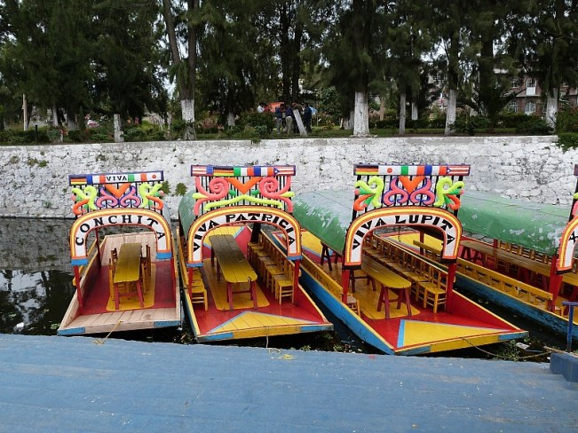 Xochimilco canal boats in Mexico