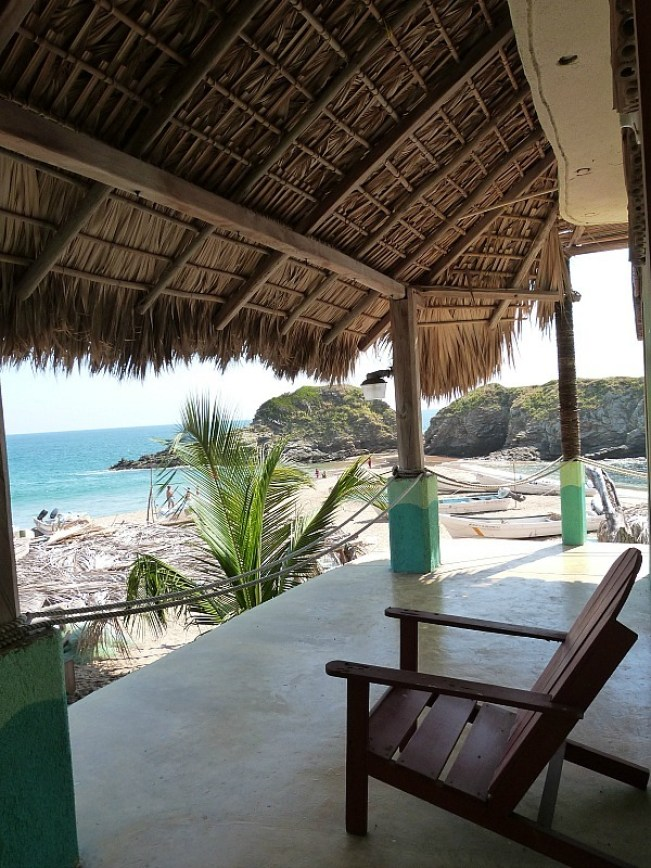 Our hotel deck in San Agustinillo, Mexico