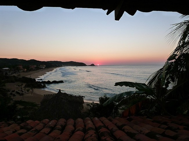 Sunset over Zipolite beach on the Pacific Coast of Mexico