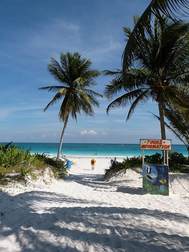 Tulum beach on the Yucatan Coast of Mexico