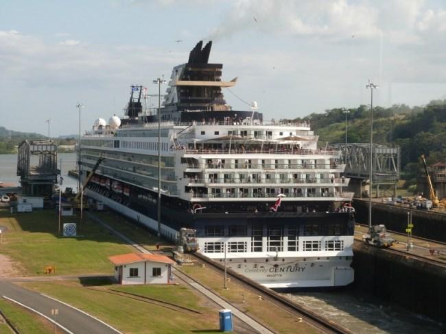 Watching a cruise ship go through the Panama Canal