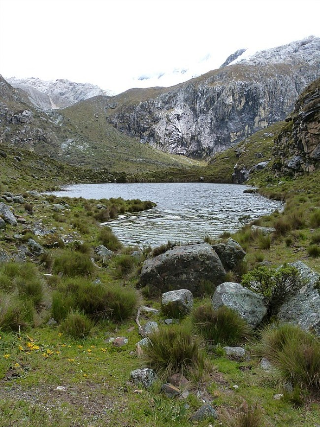 Lake on the hike to Laguna 69 in the Cordillera Blanca Mountains of Central Peru