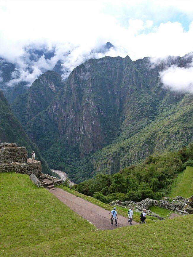 Sun coming out at Machu Picchu in Peru
