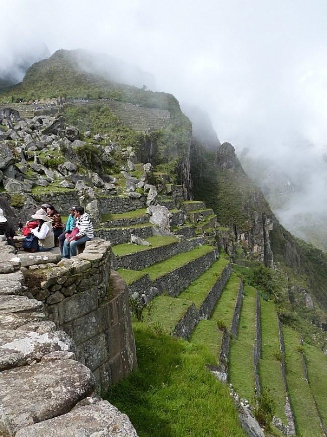 Sun coming out at Machu Picchu in Peru