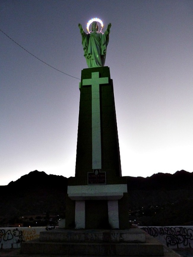 Christ statue lit up in Tupiza, Southern Bolivia
