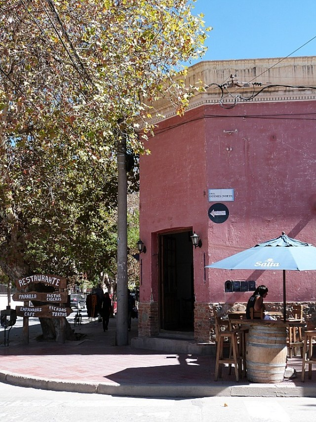 Colorful building in Cafayate, Northern Argentina