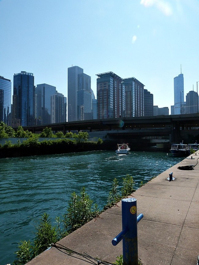 Walking by the river in Chicago