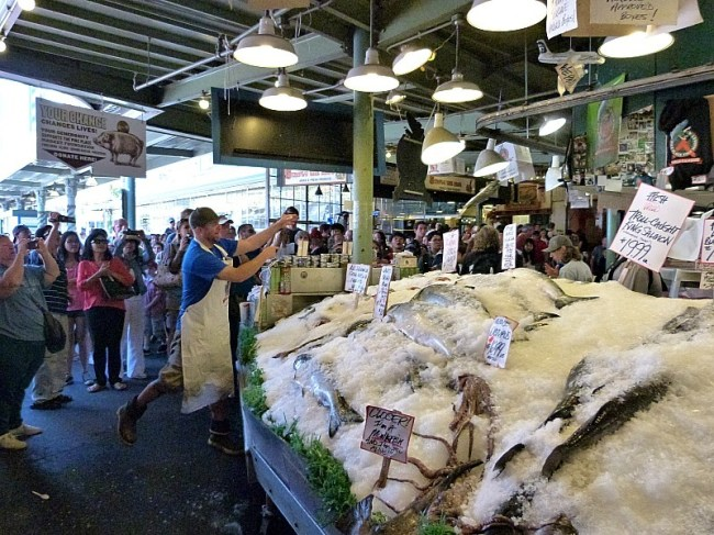 Fish throwing at the Pike Place Market in Seattle
