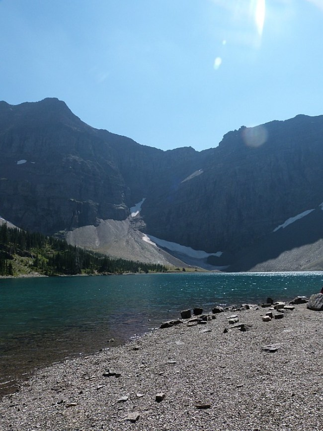 Beautiful Crypt Lake at the end of the Crypt Lake Trail in Waterton Lakes National Park, Canada