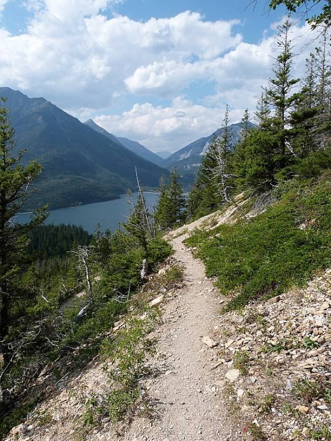 Hiking back down to Upper Waterton Lake on the Crypt Lake Hike in Waterton Lakes National Park, Canada