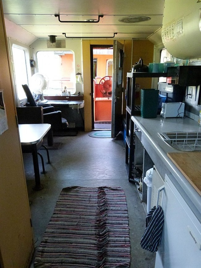 Inside the train carriage dorms of the Squilax HI Hostel where I did a Help X Placement in Canada