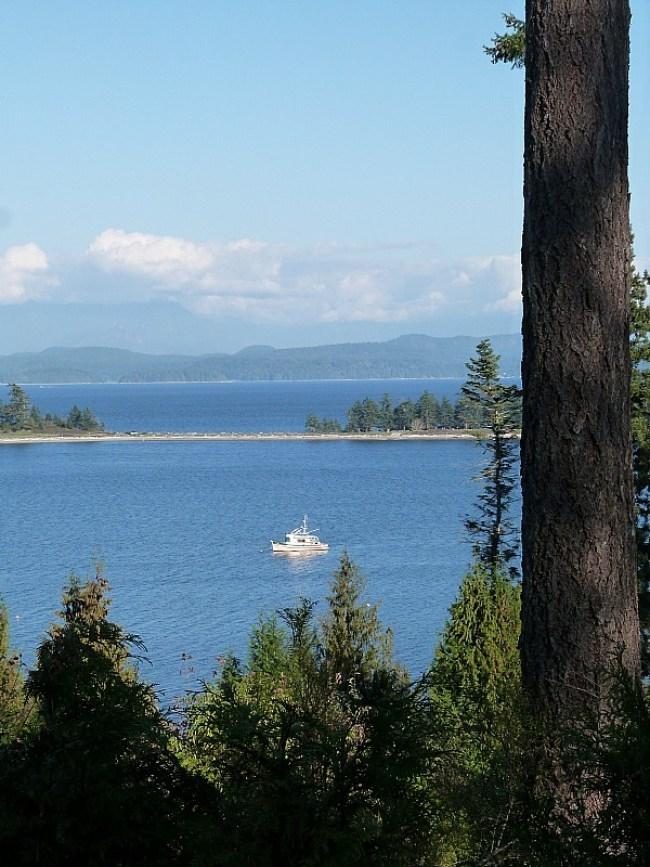 View over Rebecca Spit on Quadra Island Canada