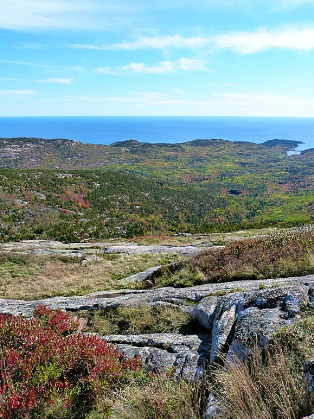 Hiking to the top of Cadillac Mountain in Acadia National Park, Maine