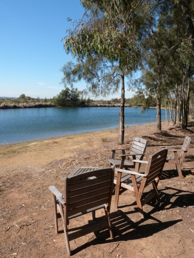 Seats by the river outside the Small Winemaker Centre in the Hunter Valley