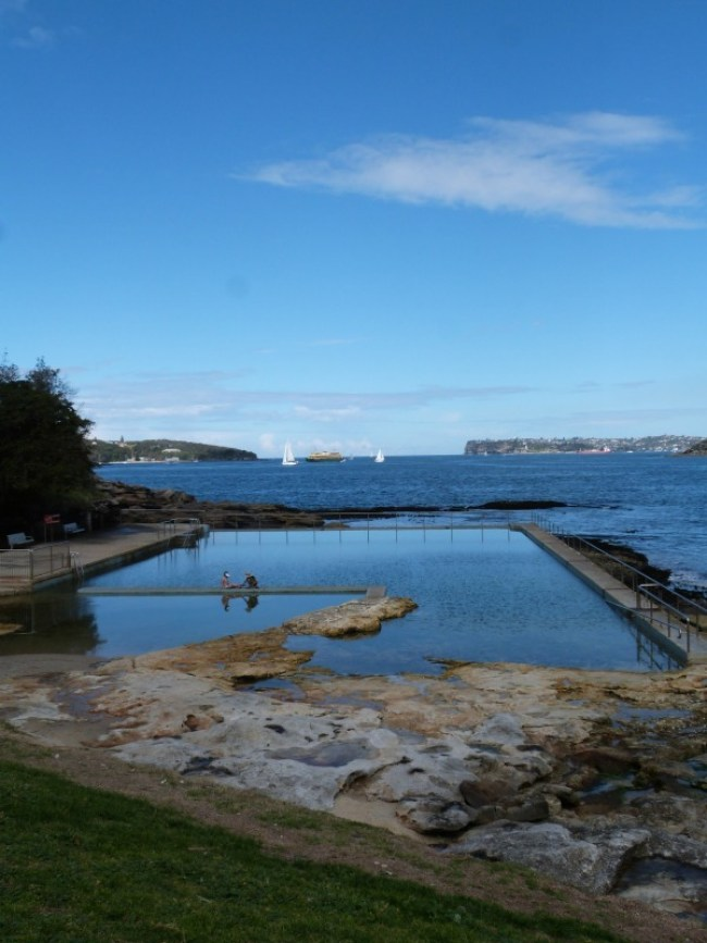 Passing Fairlight beach pool on the Manly to Spit walk in Sydney