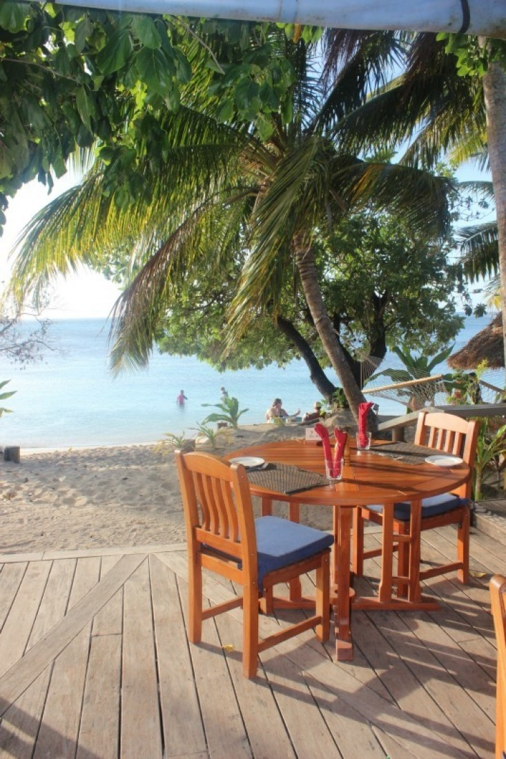 Al Fresco dining at Blue Lagoon Resort on Nacula Island in the Yasawa Islands of Fiji