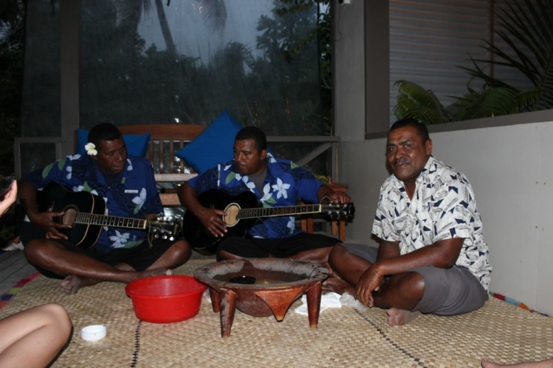 Kava ceremony at Blue Lagoon Resort on Nacula Island in the Yasawa Islands of Fiji